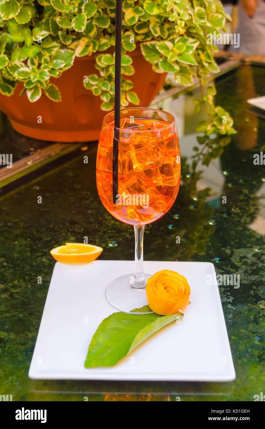 A taste of Italy Aperol spritz poured over ice Monterosso al Mare - Stock Image
