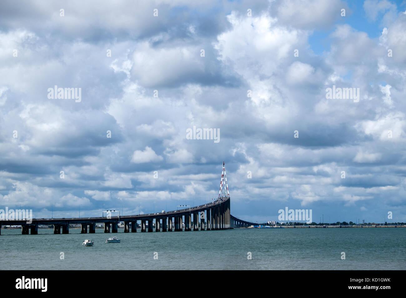 Pont de St Nazaire road bridge, spans the River Loire between St Nazaire and St Brevin les Pins Stock Photo