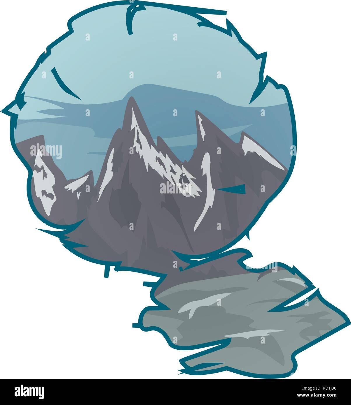 Mountain landscape in a frame - Stock Vector