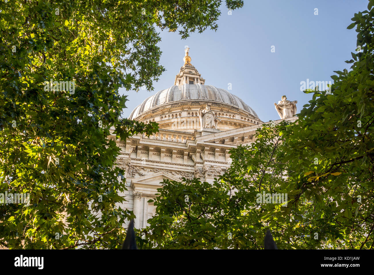 St. Paul's Cathedral dome viewed through trees and leaves in the churchyard garden. City of London, UK - Stock Image