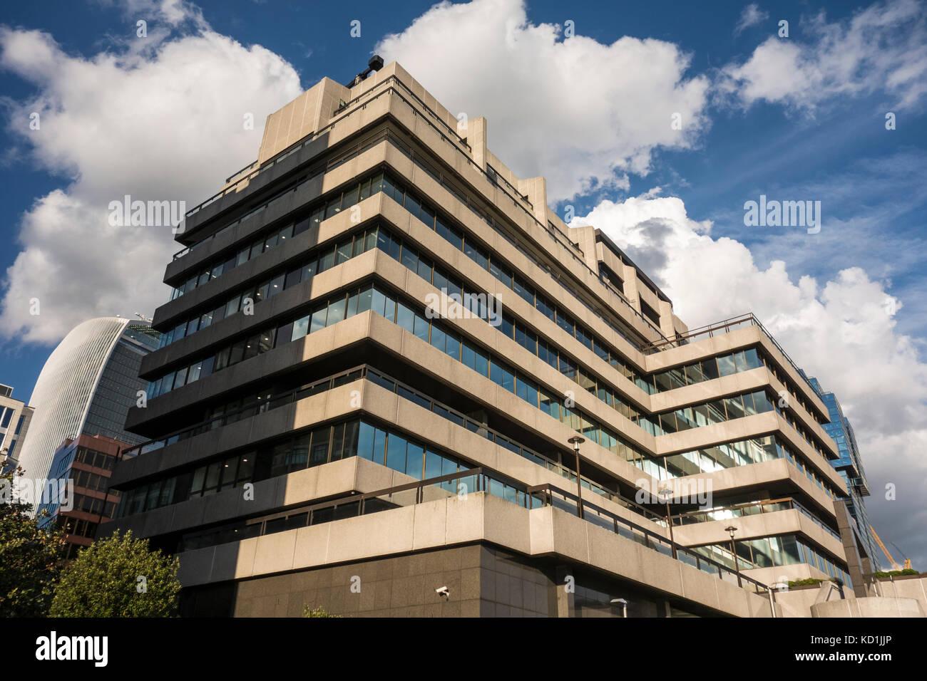 Seventies architecture St Magnus House by Richard Seifert & Partners, Lower Thames Street, London, UK - Stock Image