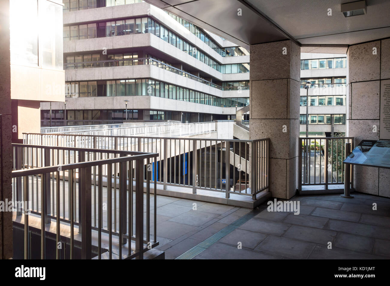 City of London Pedway Scheme, elevated walkways and pavements, Lower Thames Street, London, UK - Stock Image