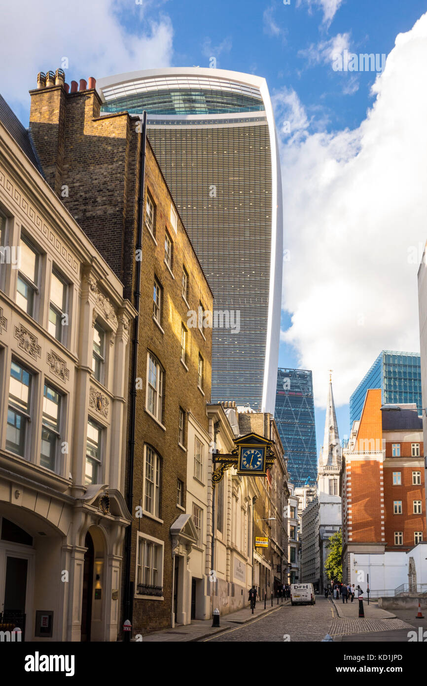 View looking up St Mary at Hill, City of London ancient lane, London, UK - Stock Image