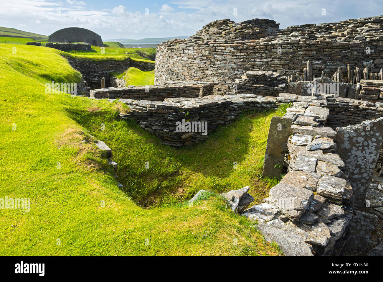 Midhowe Broch on the island of Rousay, Orkney Islands, Scotland, UK. - Stock Image