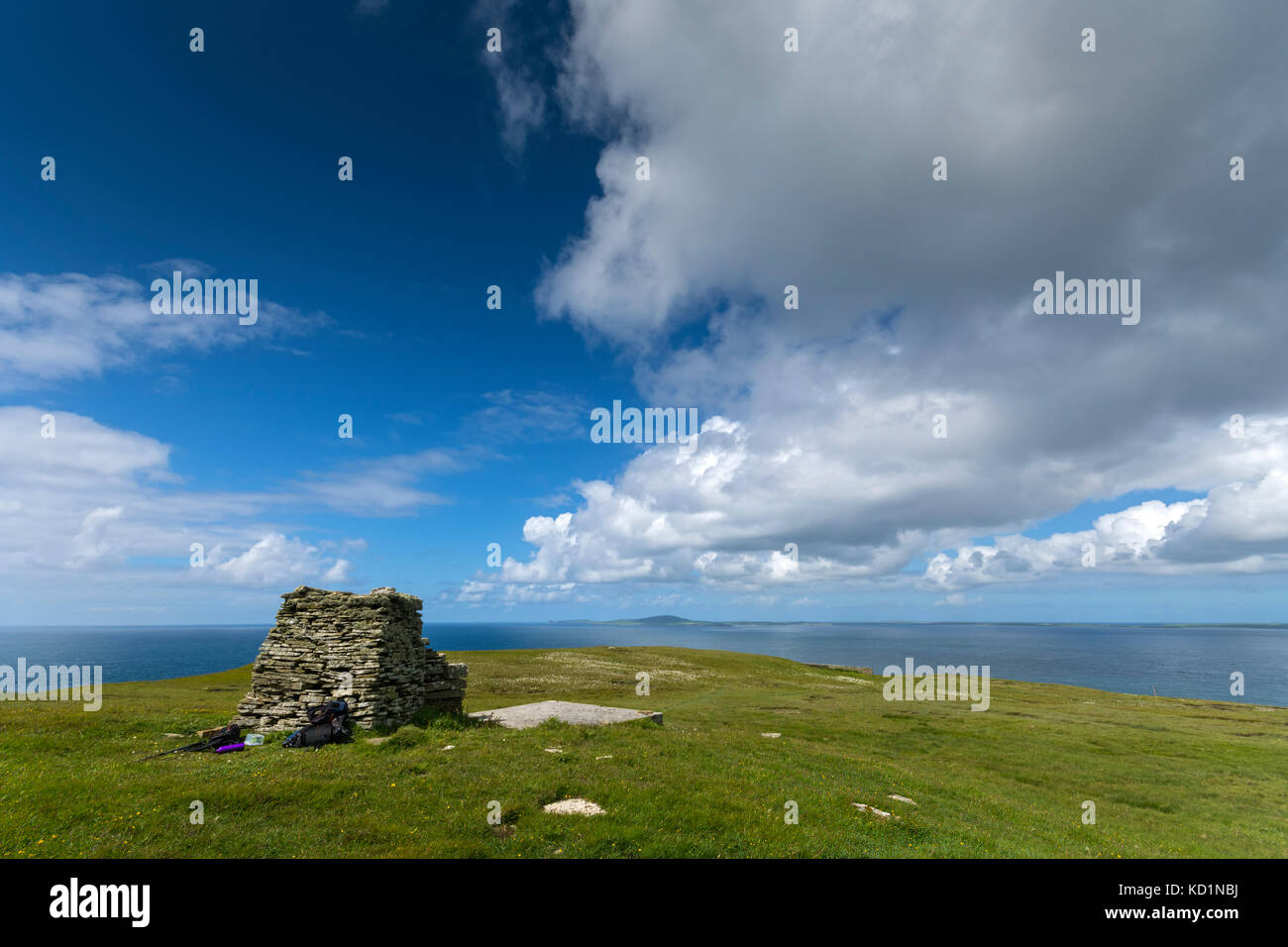 The island of Westray from the large cairn on Faraclett Head, Rousay, Orkney Islands, Scotland, UK. - Stock Image