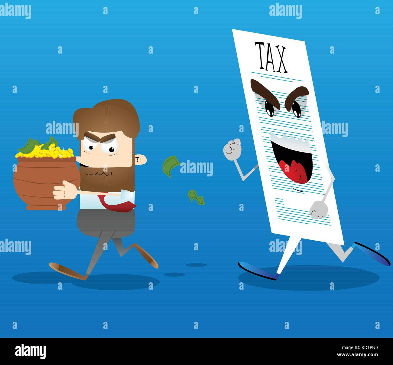 Business office worker running away from tax with a pot of money in his hands. Vector cartoon illustration. Stock Vector