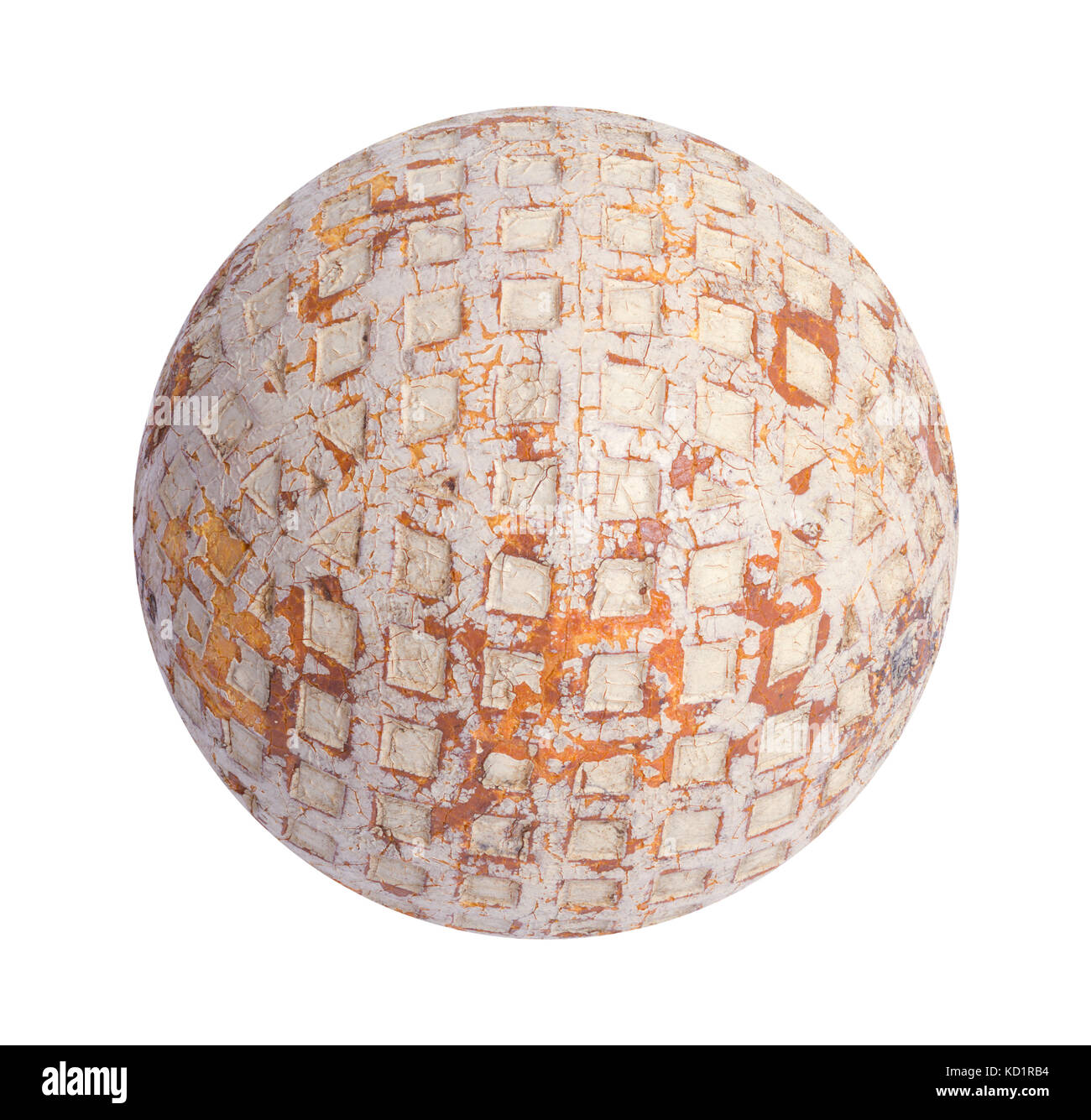Old Wooden Golf Ball Cut Out on White. - Stock Image
