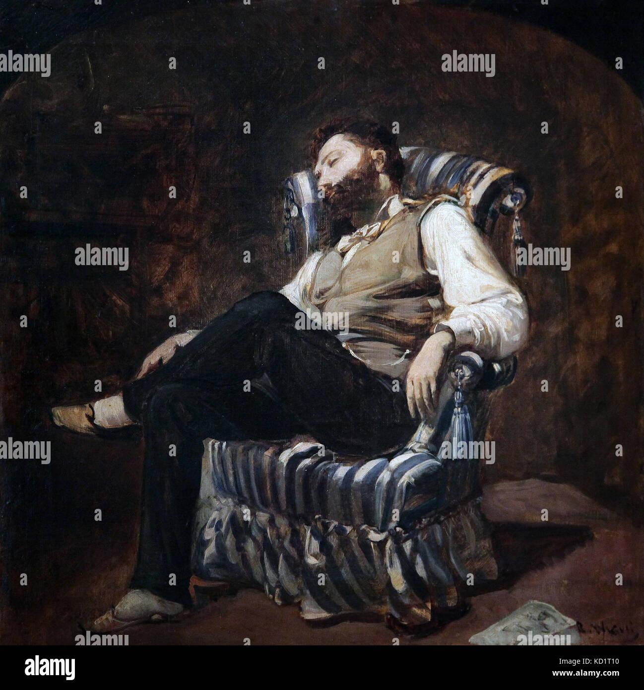 The Siësta 1884 painting by Ramon Marti i Alsina 1826-1894 - Stock Image
