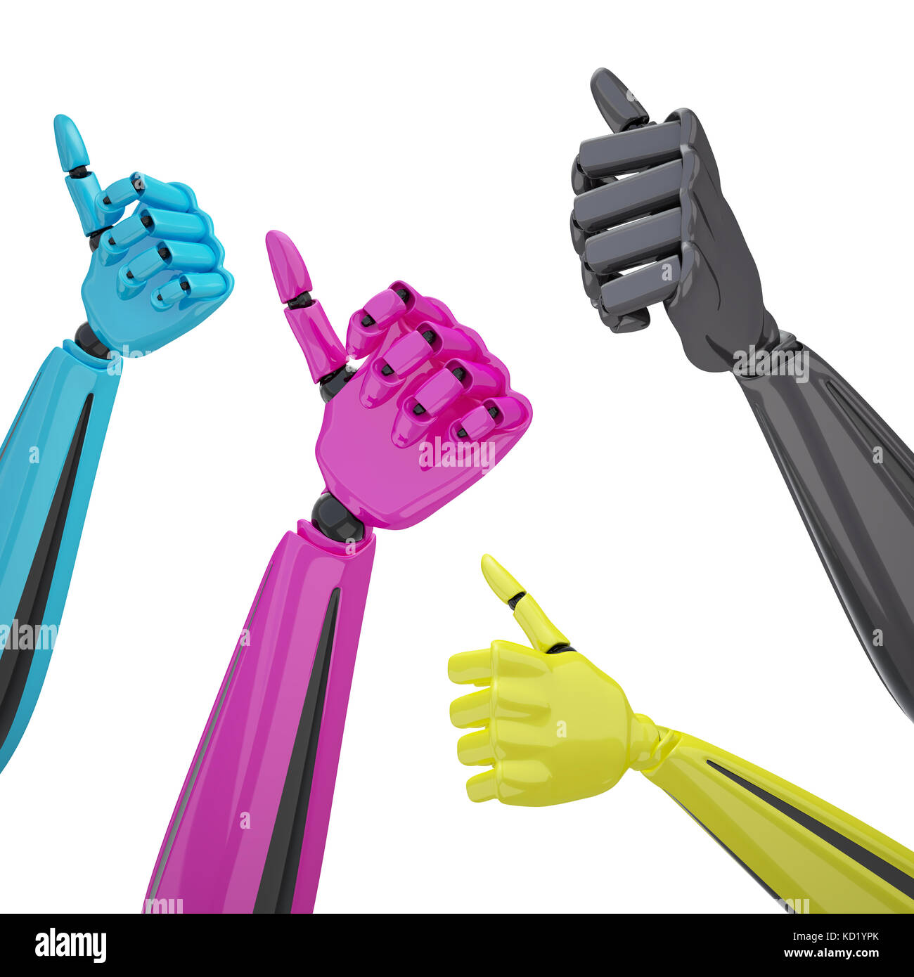 Set of robotic hands with thumb up. - Stock Image