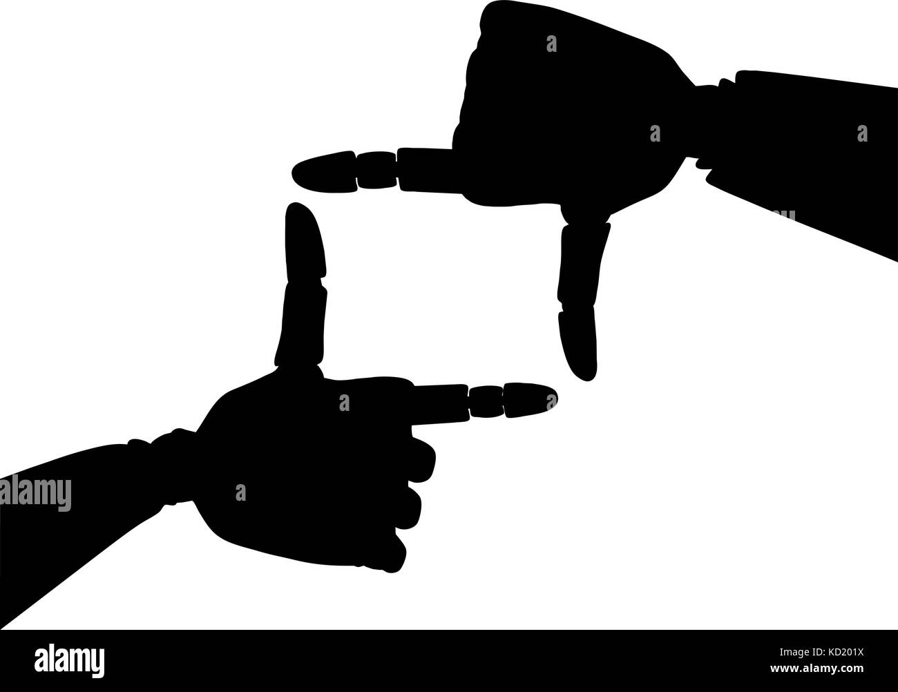 Silhouette of frame made of gold robotic hands  - Stock Vector