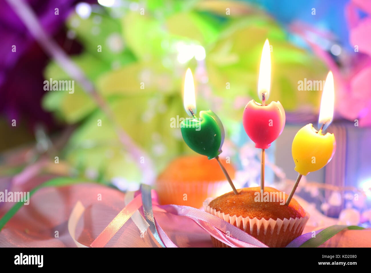 Happy Birthday Candle Pink Bow Stock Photos Happy Birthday Candle