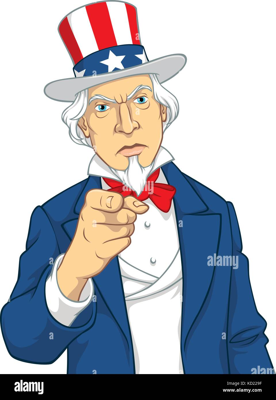 Vector illustration of Uncle Sam pointing towards the viewer - Stock Vector
