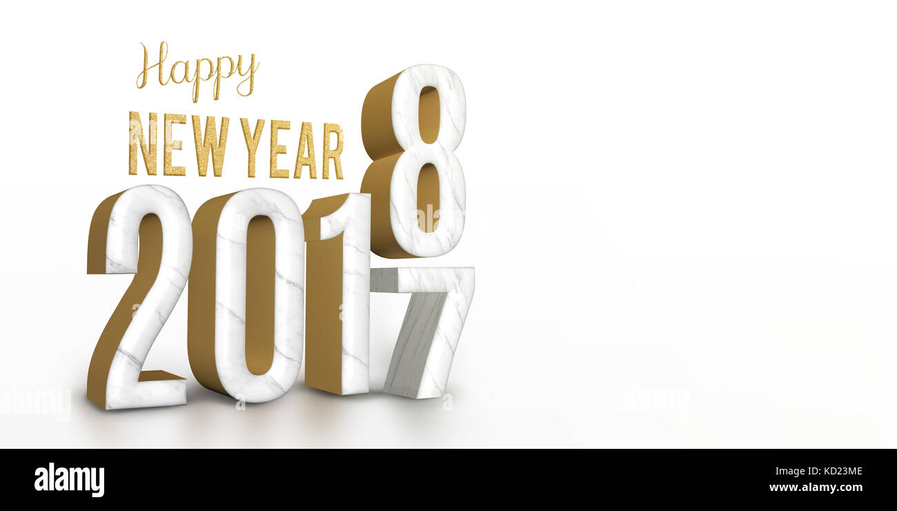 year 2017 marble and gold texture number change to 2018 new year in white studio room, New year greeting card banner - Stock Image