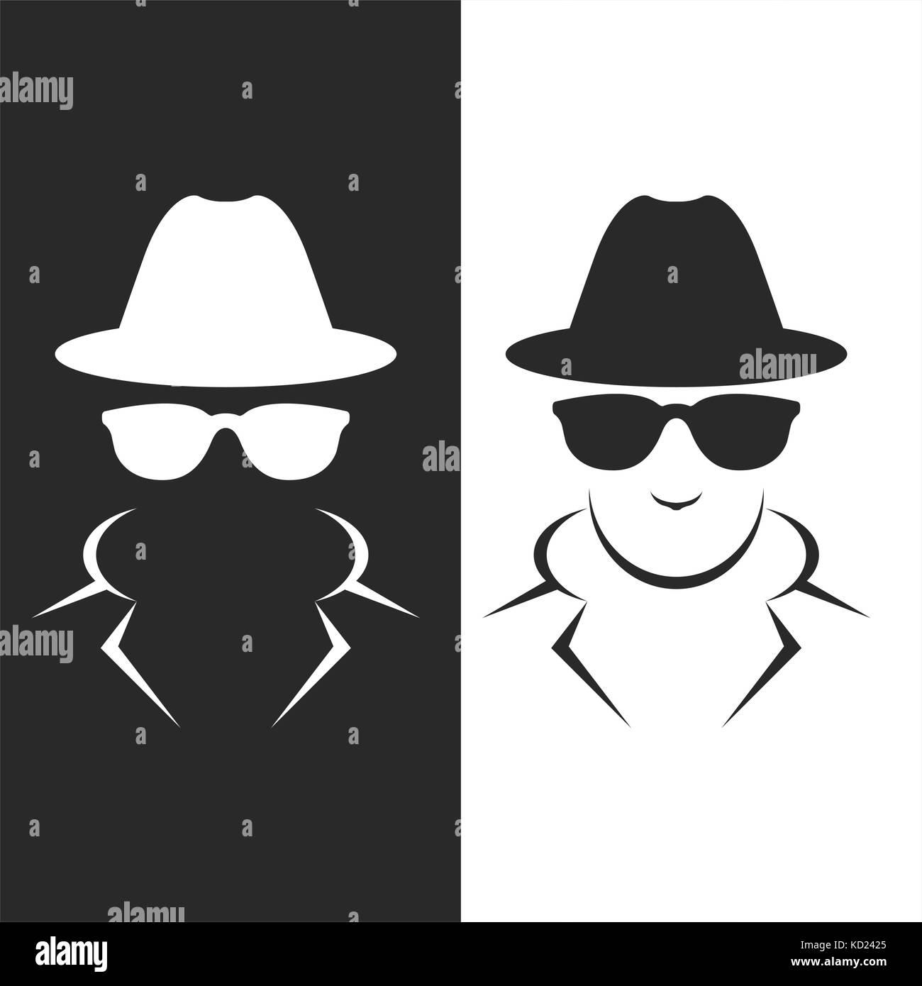 Undercover agent or spy - private detective icon - Stock Vector