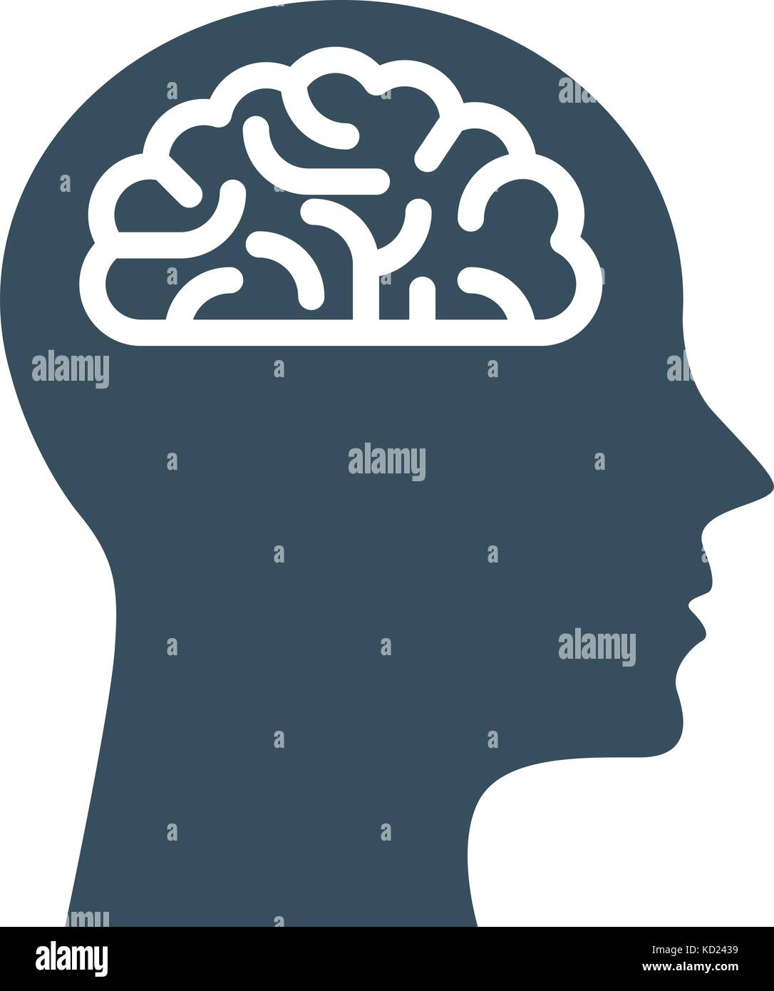 Personal IQ - head with brain, intelligence and knowledge symbol - Stock Image