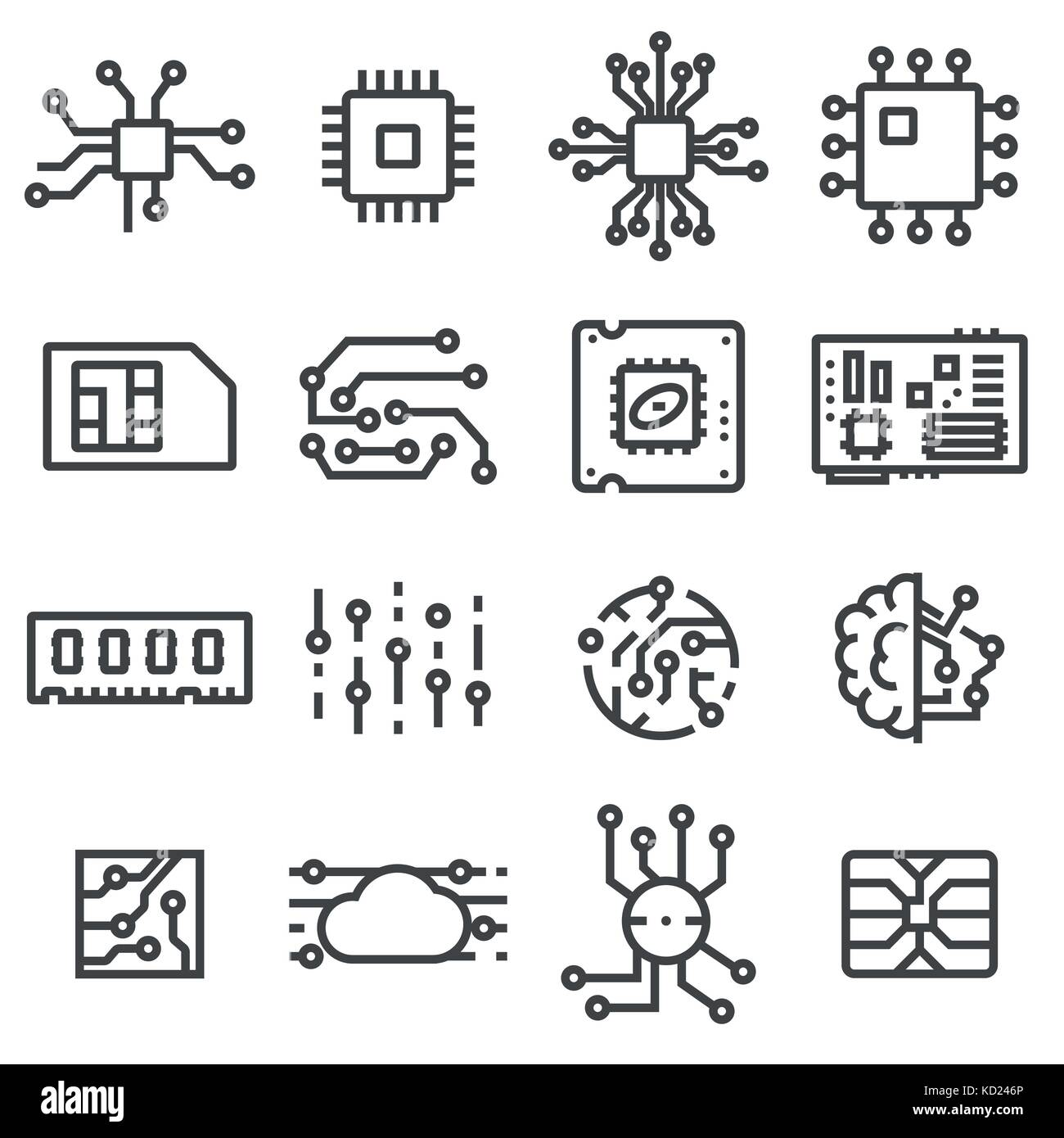 Vector Computer Chips icons set. Electronics symbols Stock Vector ...