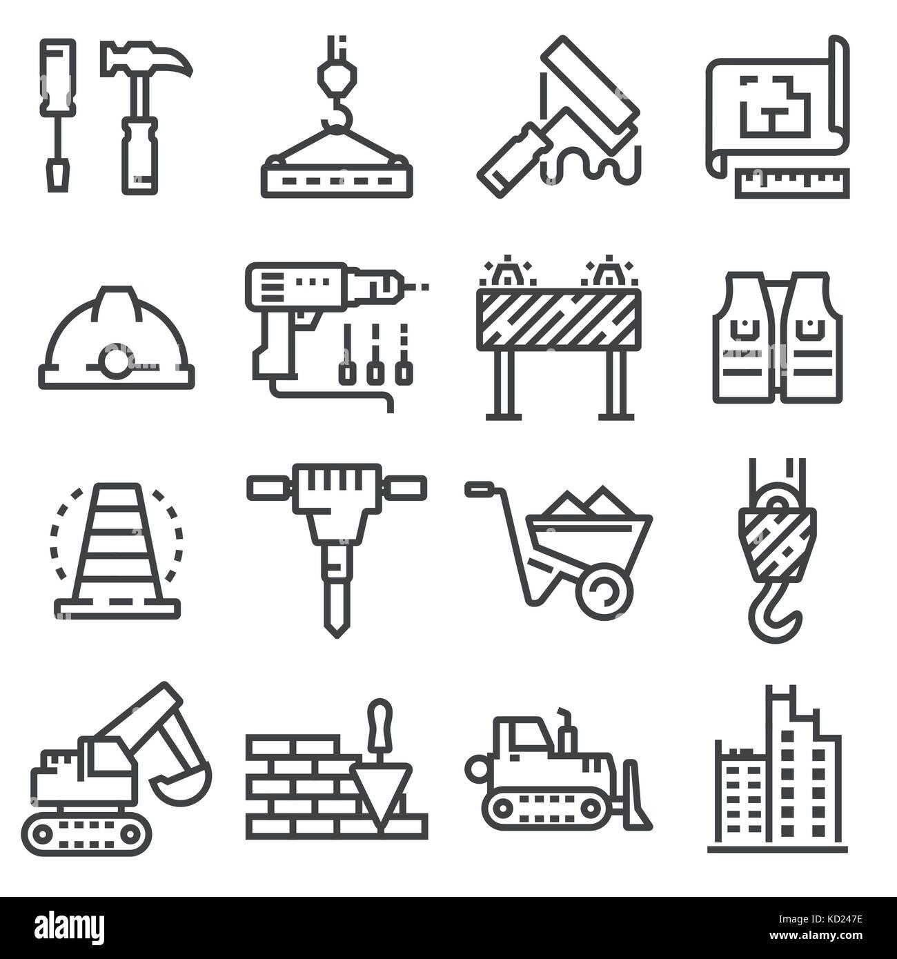 Vector construction icons set  Building line symbols Stock