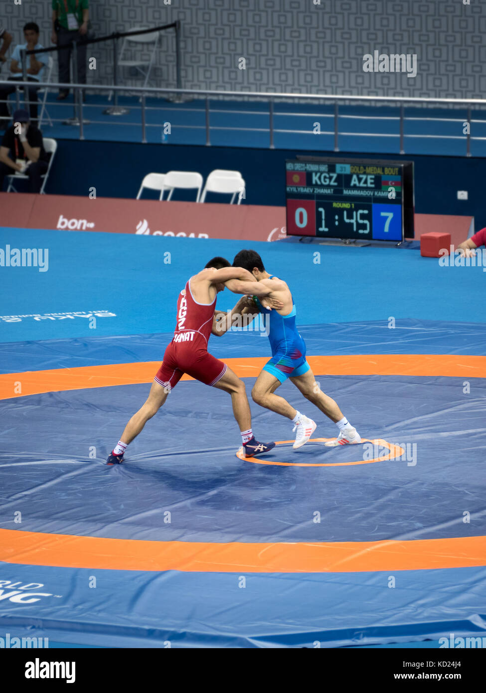 Baku, Azerbaijan - May 18, 2017 : Men's Greco Roman Wrestling 66kg final at 4th Islamic Solidarity Games - Stock Image