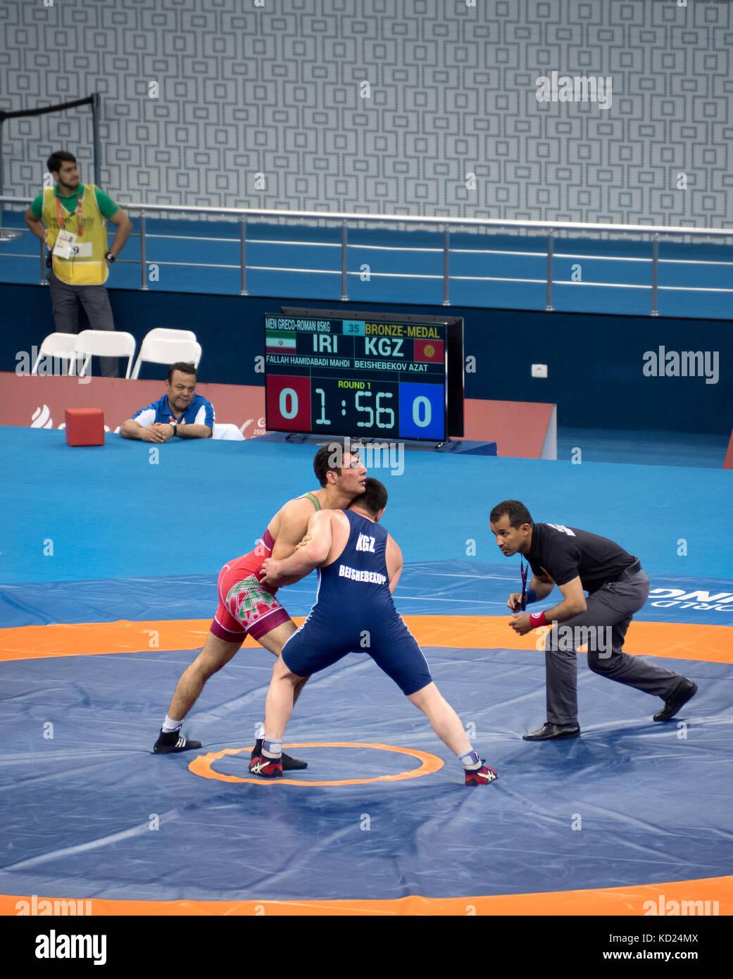 Baku, Azerbaijan - May 18, 2017 : Men's Greco Roman wrestling 85kg bronze medal final at 4th Islamic Solidarity - Stock Image