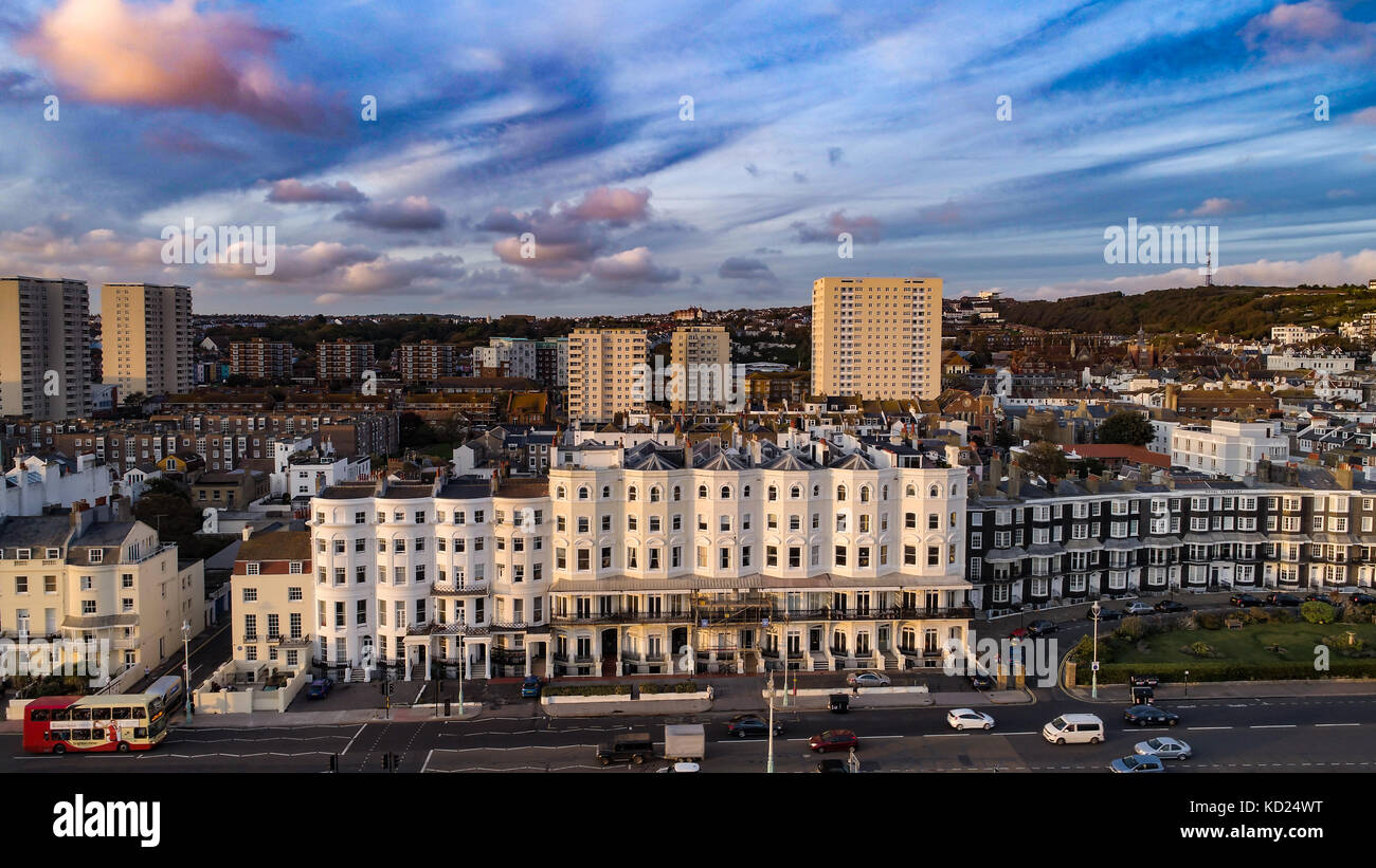 Aerial view of the town of Brighton at sunset, Southern England - Stock Image