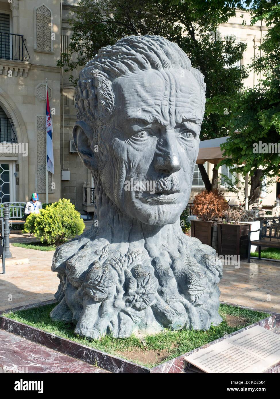Statue depicting poet Aliagha Vahid in the Old City of Baku, Azerbaijan Stock Photo
