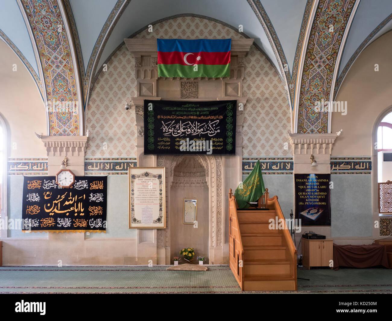 Interior of Juma Mosque ( aka Friday Mosque ) in the historic Old Town of Baku, Azerbaijan - Stock Image