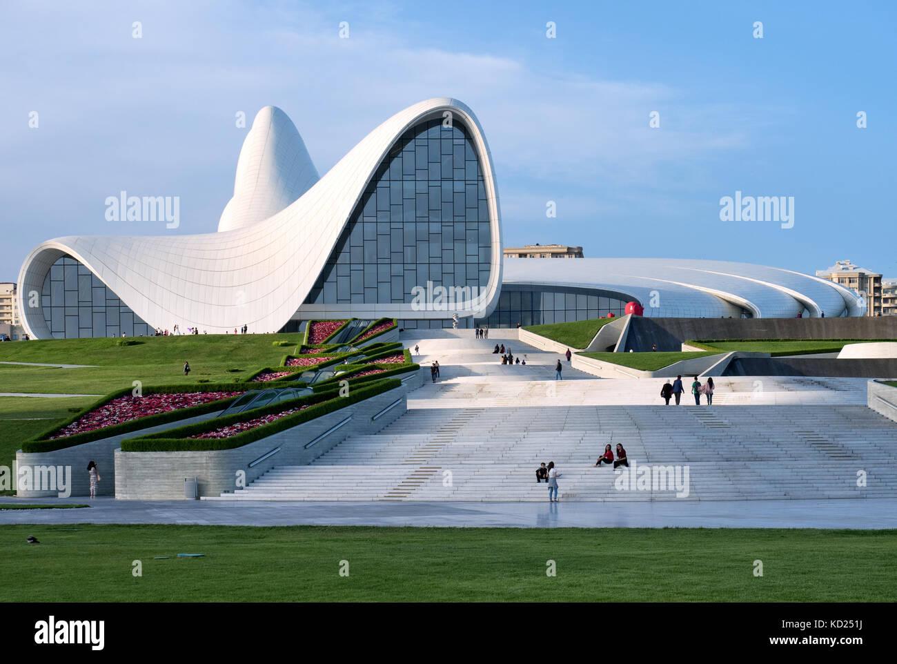 Baku, Azerbaijan : Heydar Aliyev Centre building complex designed by Iraqi-British architect Zaha Hadid. Stock Photo