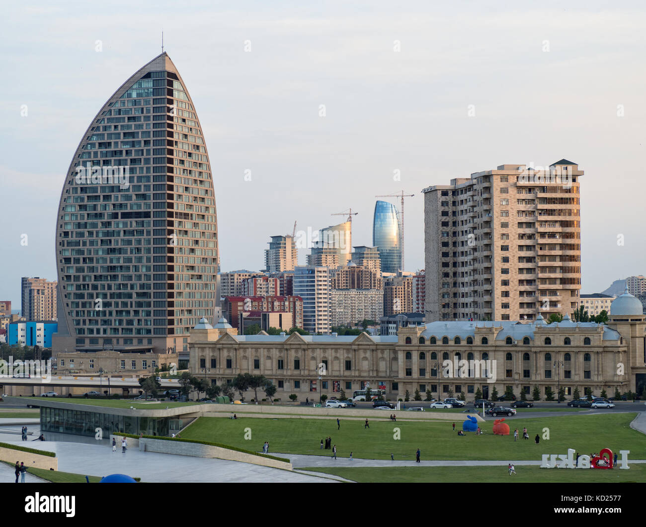 Modern architecture of Baku, Azerbaijan, in front of Heydar Aliyev centre Stock Photo