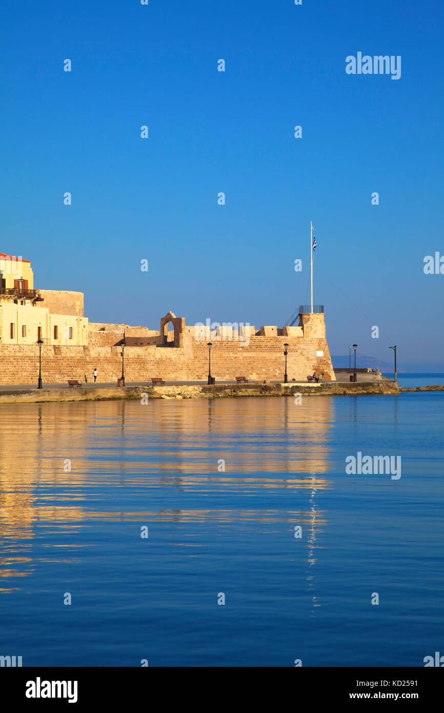 The Firkas Fortress, Venetian Harbour, Chania, Crete, Greek Islands, Greece, Europe - Stock Image