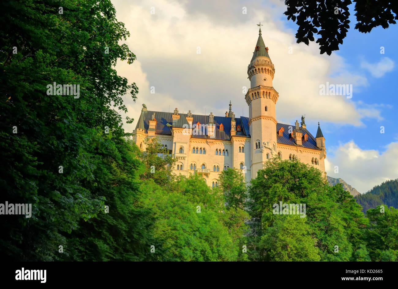 Front shot of Neuschwanstein Castle, near Füssen in southwest Bavaria, Germany. - Stock Image