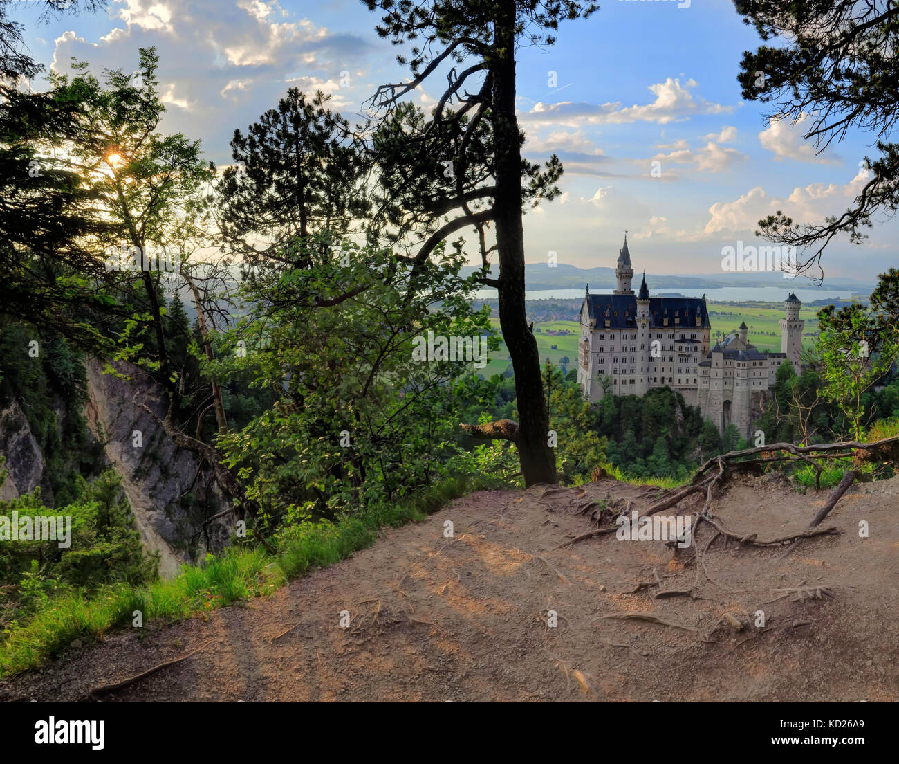 Shot of Neuschwanstein Castle from within the trees. - Stock Image