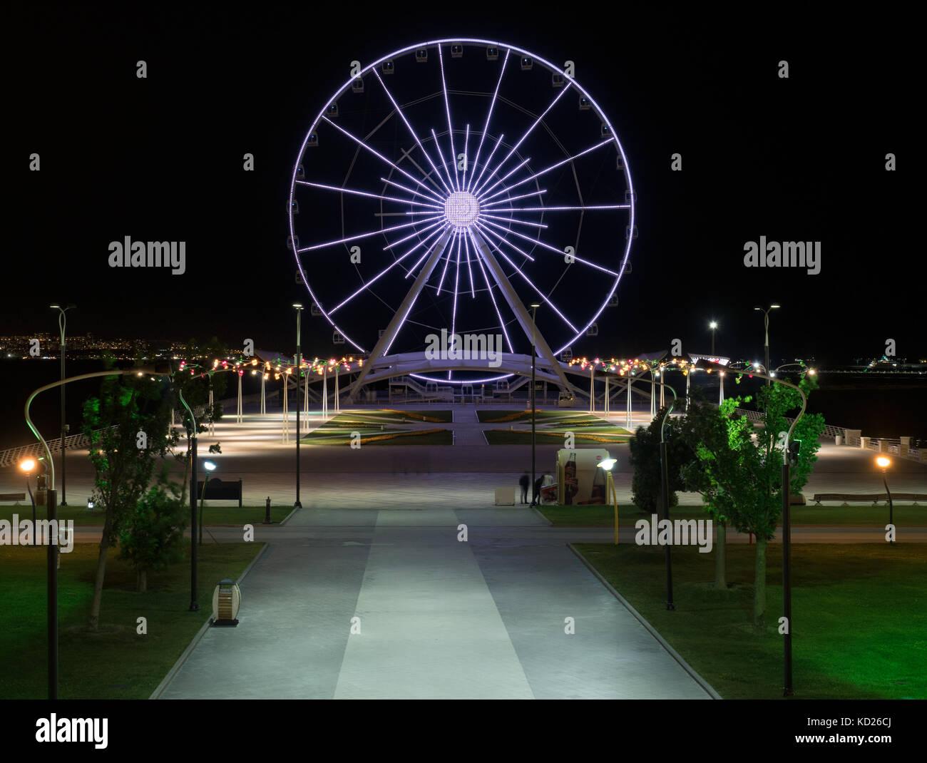 Baku Eye is a Ferris wheel on Baku Boulevard, Azerbaijan Stock Photo