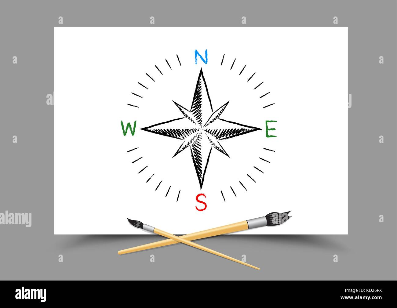 drawing world map directions on paper Stock Vector Art ... on