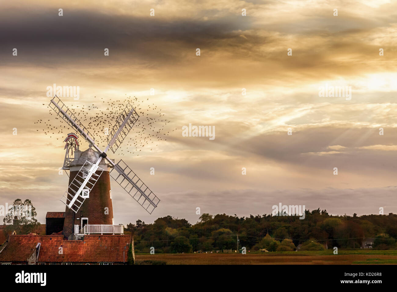 Cley Windmill is a grade II listed five storey tower mill located on the North Norfolk coast dating from the 18th Stock Photo