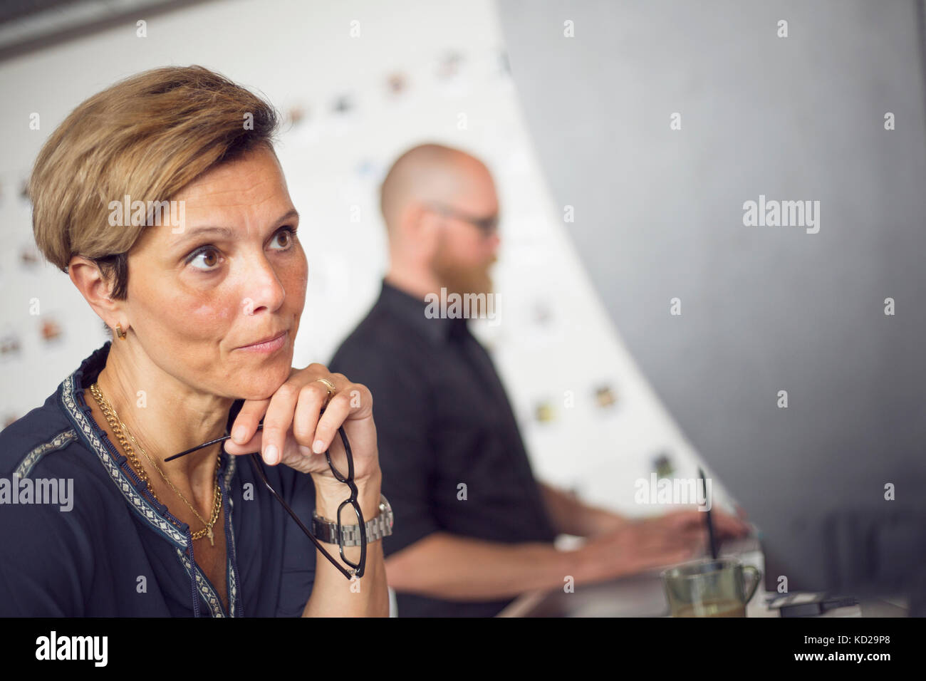 Man and woman working at office Stock Photo