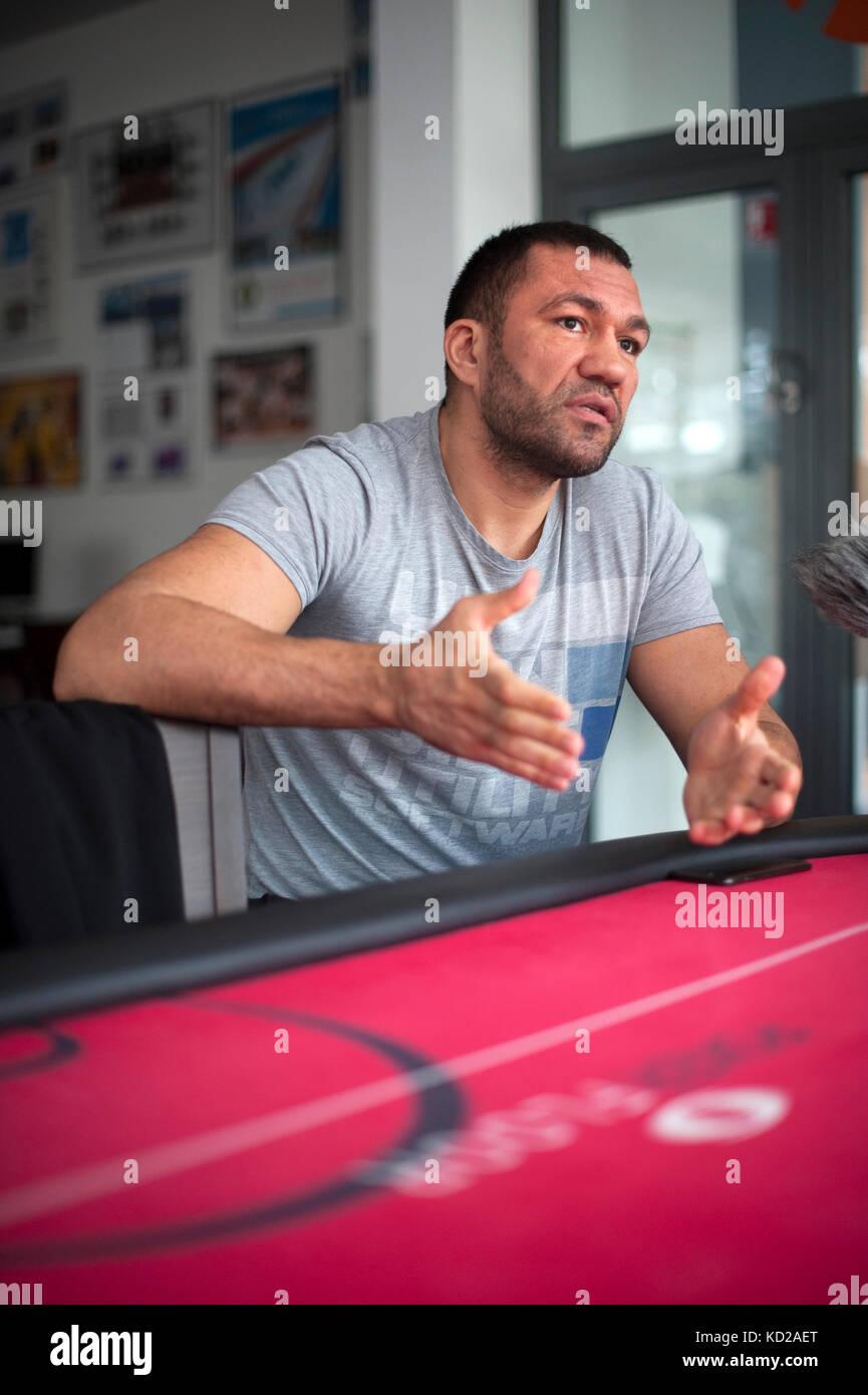 Bulgarian Heavy Weight Boxer Kubrat Pulev  at The Bundesleistungszentrum Kienbaum (Kienbaum National Training Centre) - Stock Image