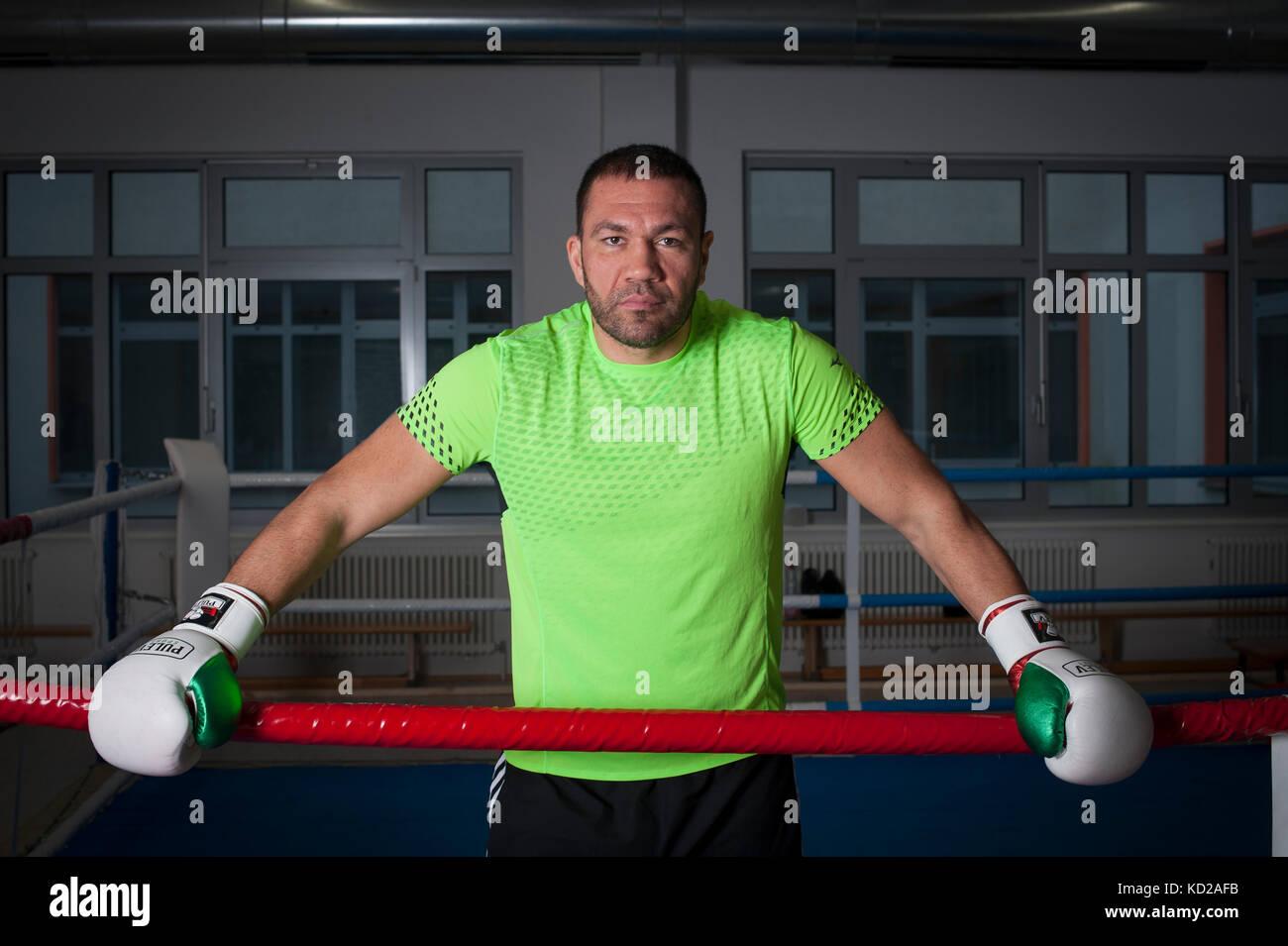Bulgarian Heavy Weight Boxer Kubrat Pulev training at The Bundesleistungszentrum Kienbaum (Kienbaum National Training - Stock Image