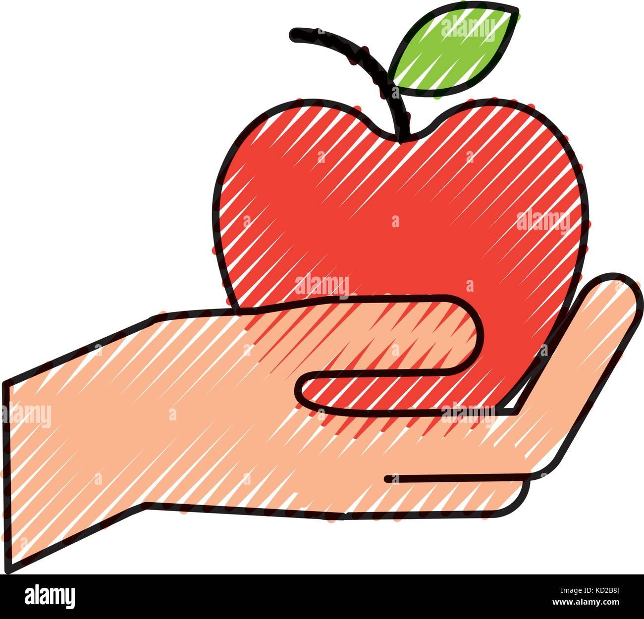 hand holding apple fruit fresh shop market - Stock Vector