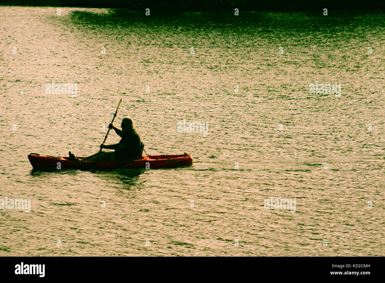 A man in a canoe - Stock Image