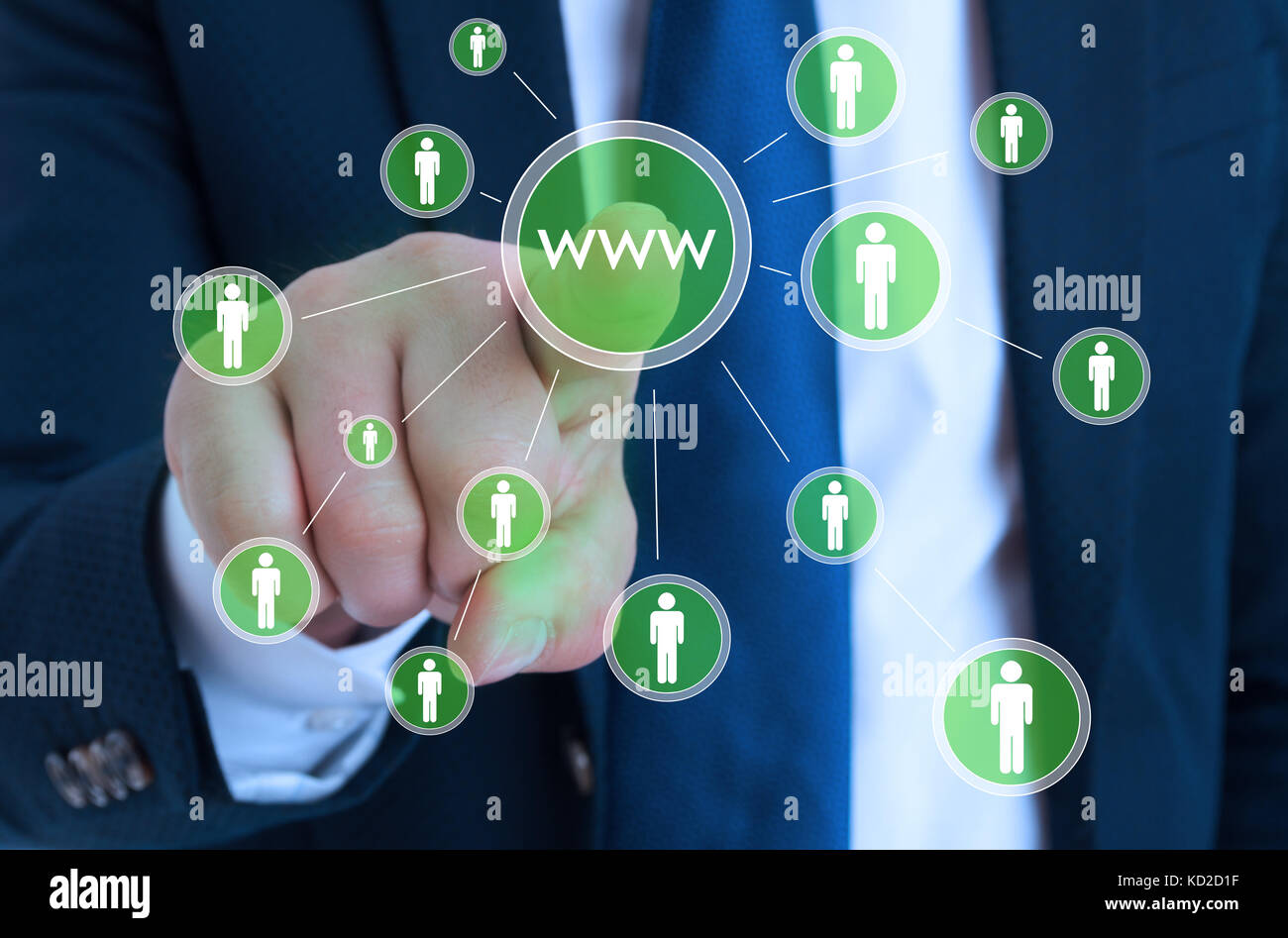 Male entrepreneur pointing on online search enginer for web browsing Stock Photo
