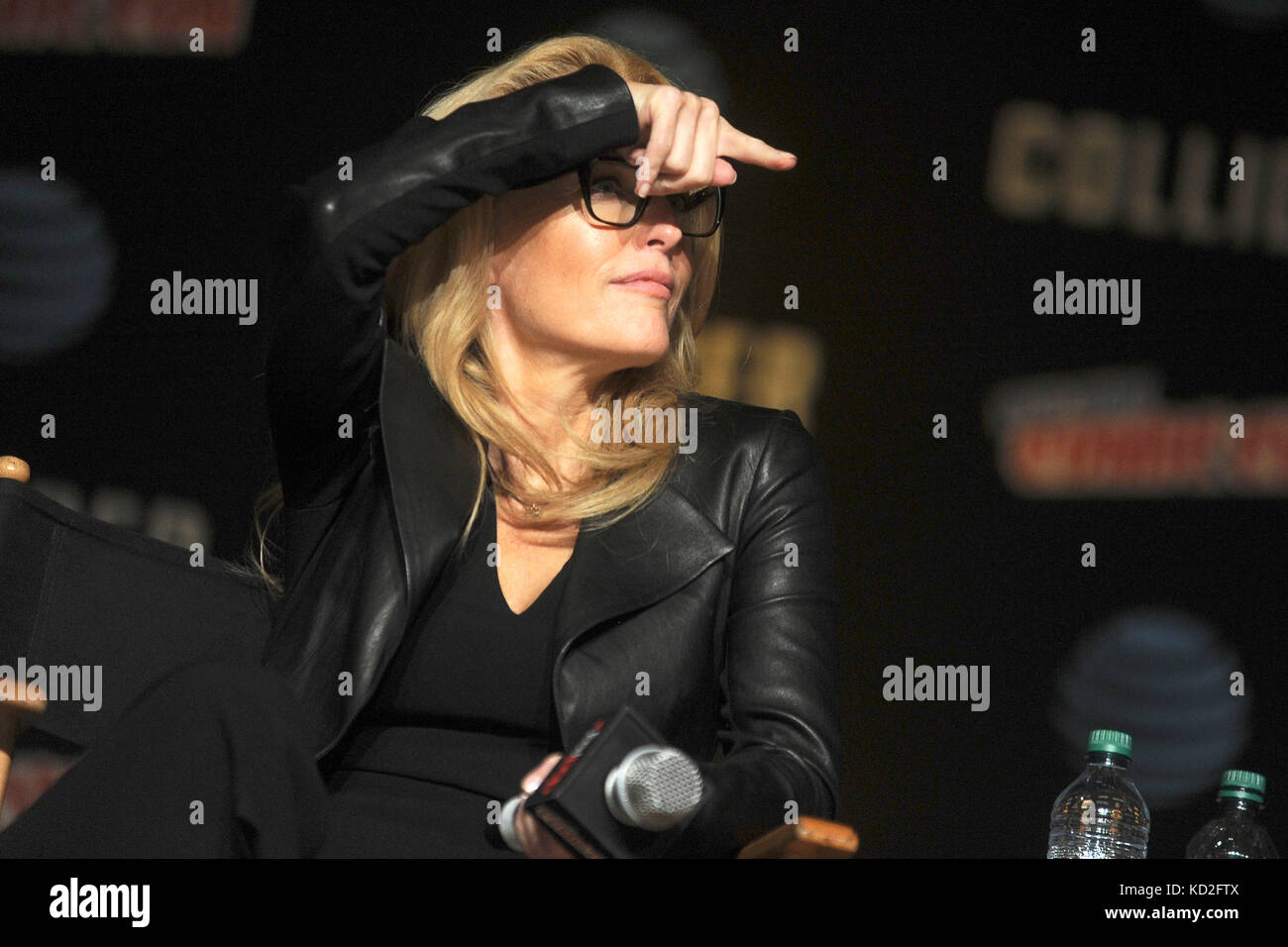 New York, USA. 8th Oct, 2017. Gillian Anderson speaks at The X-Files panel during the New York Comic Con 2017 at - Stock Image
