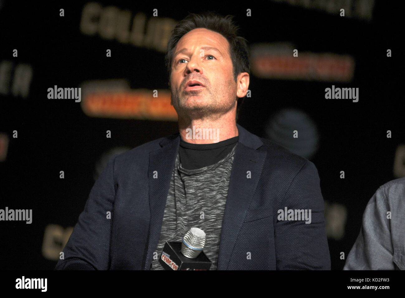 New York, USA. 8th Oct, 2017. David Duchovny speaks at The X-Files panel during the New York Comic Con 2017 at Javits - Stock Image