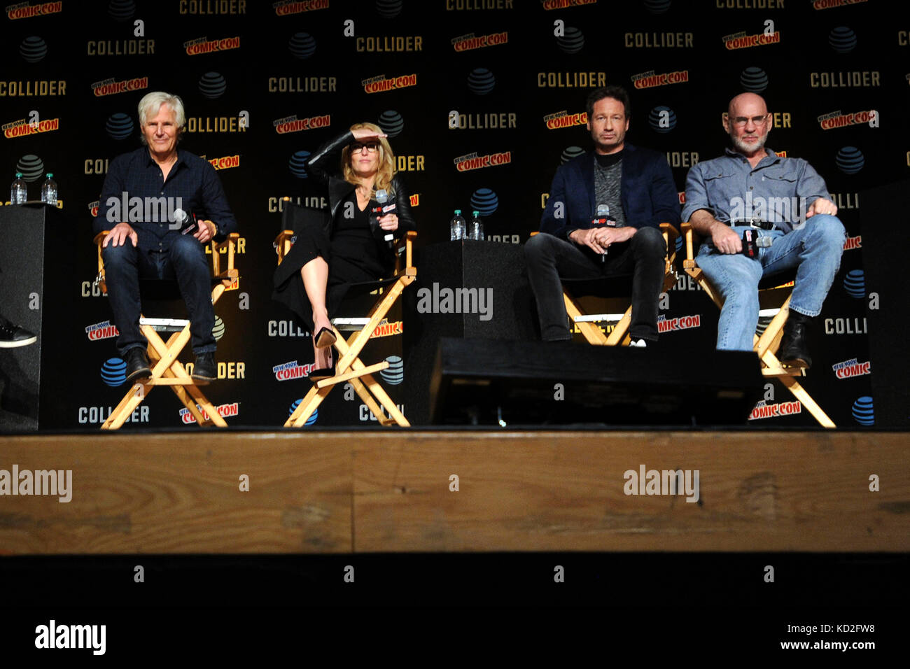 New York, USA. 8th Oct, 2017. Chris Carter, Gillian Anderson, David Duchovny and Mitch Pileggi speak at The X-Files Stock Photo