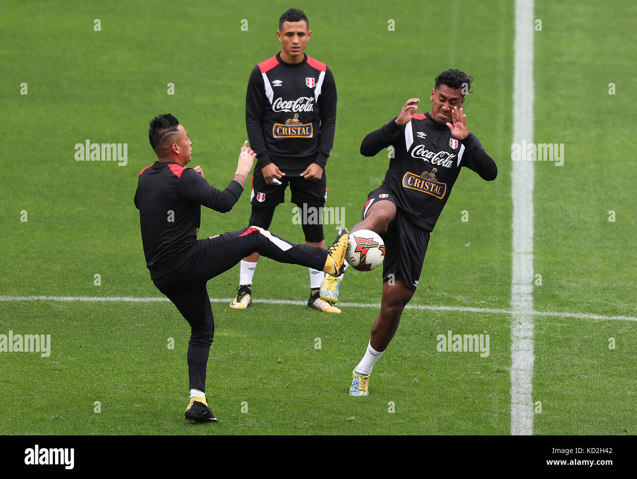 1d6763bb8 Peru s national soccer team players participate in a training session at  the National Stadium in Lima