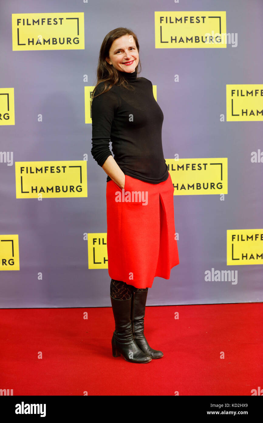 Hamburg, Germany. 9th Oct, 2017. Director Barbara Albert arrives for the German premiere of 'Licht' (Light) - Stock Image