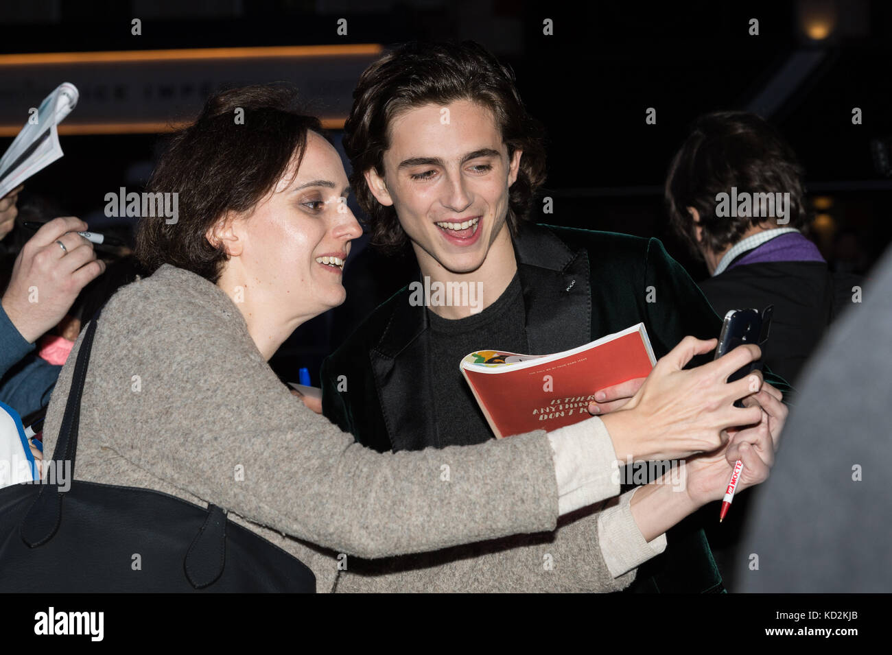 London, UK. 9th Oct, 2017. Timothée Chalamet arrives for the UK film premiere of 'Call Me By Your Name' at Odeon Stock Photo