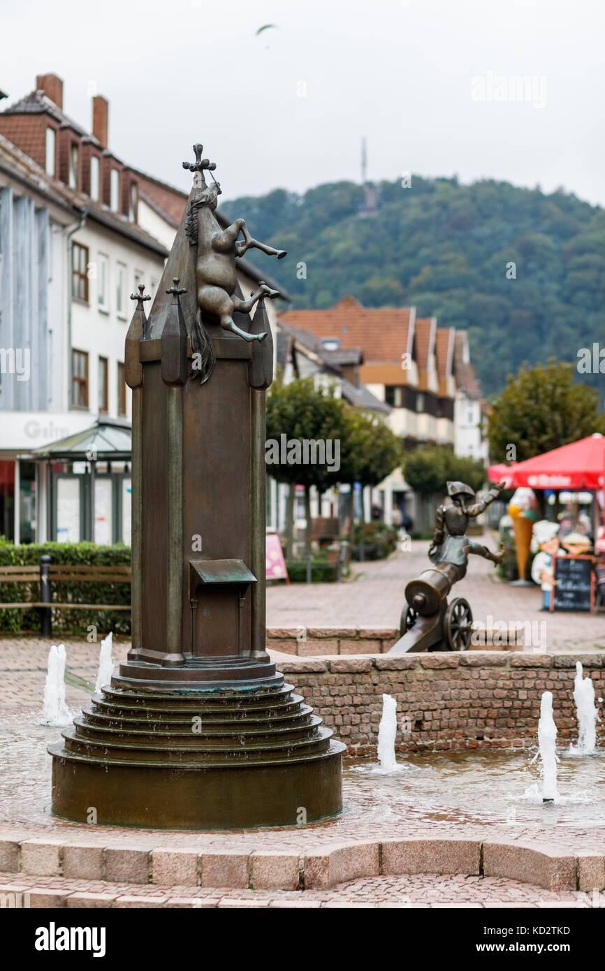 Picture of the Munchhausen Fountain taken in Baron von Munchhausen's town of Bodenwerder, Germany, 20 September - Stock Image