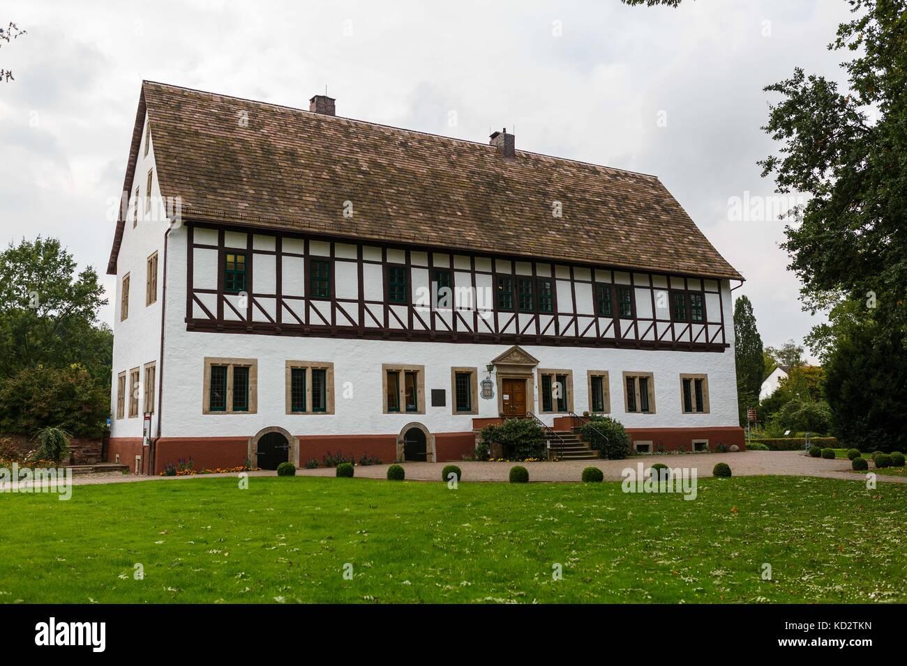 Picture of Baron von Munchhausen's house taken in Bodenwerder, Germany, 20 September 2017. Photo: Philipp Von - Stock Image