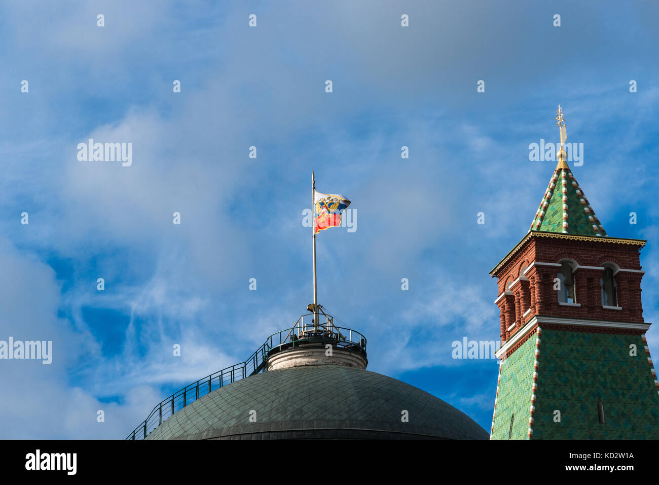 Russian weather, Moscow, Russia. 10th Oct, 2017. Partly cloudy morning. Calm and warm day. The temperature about - Stock Image