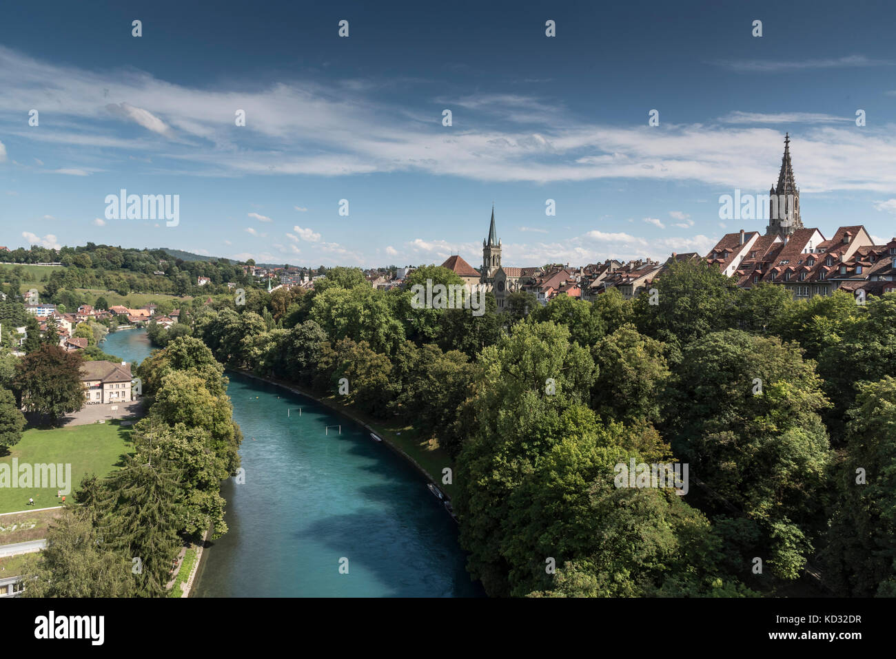 Elevated view of tree lined Aare river, Bern, Switzerland, Europe - Stock Image